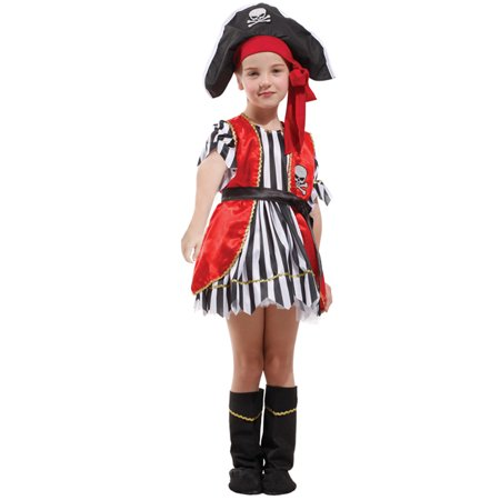Girls' Red Pirate Costume Set with Dress and Hat, M - Diy Little Girl Pirate Costume