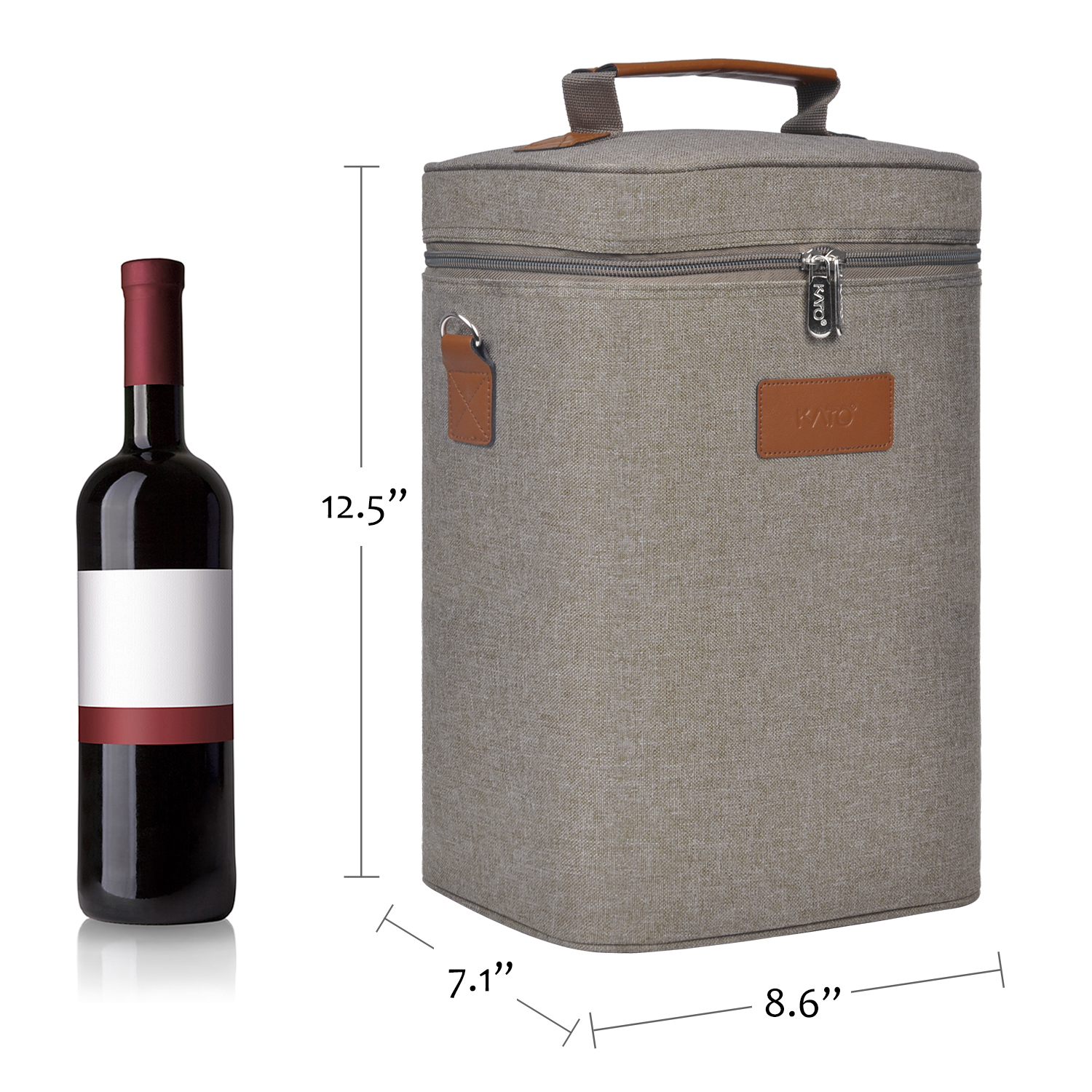 Kato Insulated Wine Tote Bag - 4 Bottle Travel Padded Wine/ Champagne Cooler Carrier with Handle and Shoulder Strap, Great Wine Lover Gift