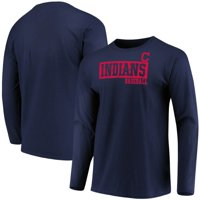Men's Majestic Navy Cleveland Indians Box Cutter Long Sleeve T-Shirt