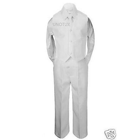 4pc Boy Formal 1st Communion Christening Uniform Baptism Suit Vest White sz S-20