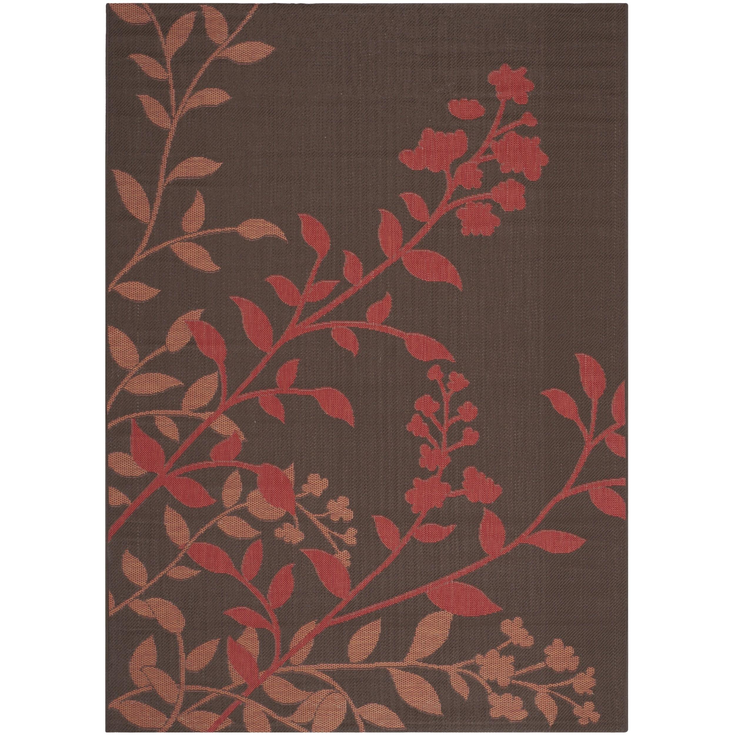 Safavieh  Indoor/ Outdoor Courtyard Chocolate/ Red Rug (5'3 x 7'7)