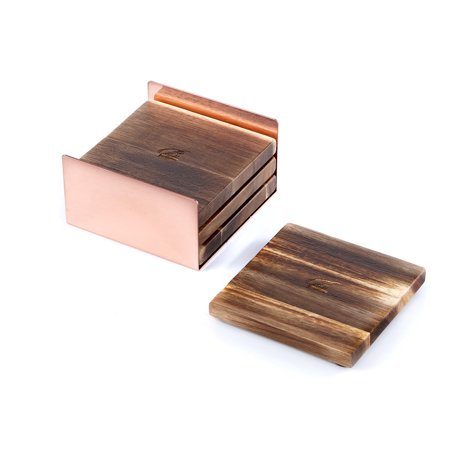 Metal Coaster Set - Acacia Square Wooden Coasters for Drinks with a Metal Coaster Holder, Set of 4