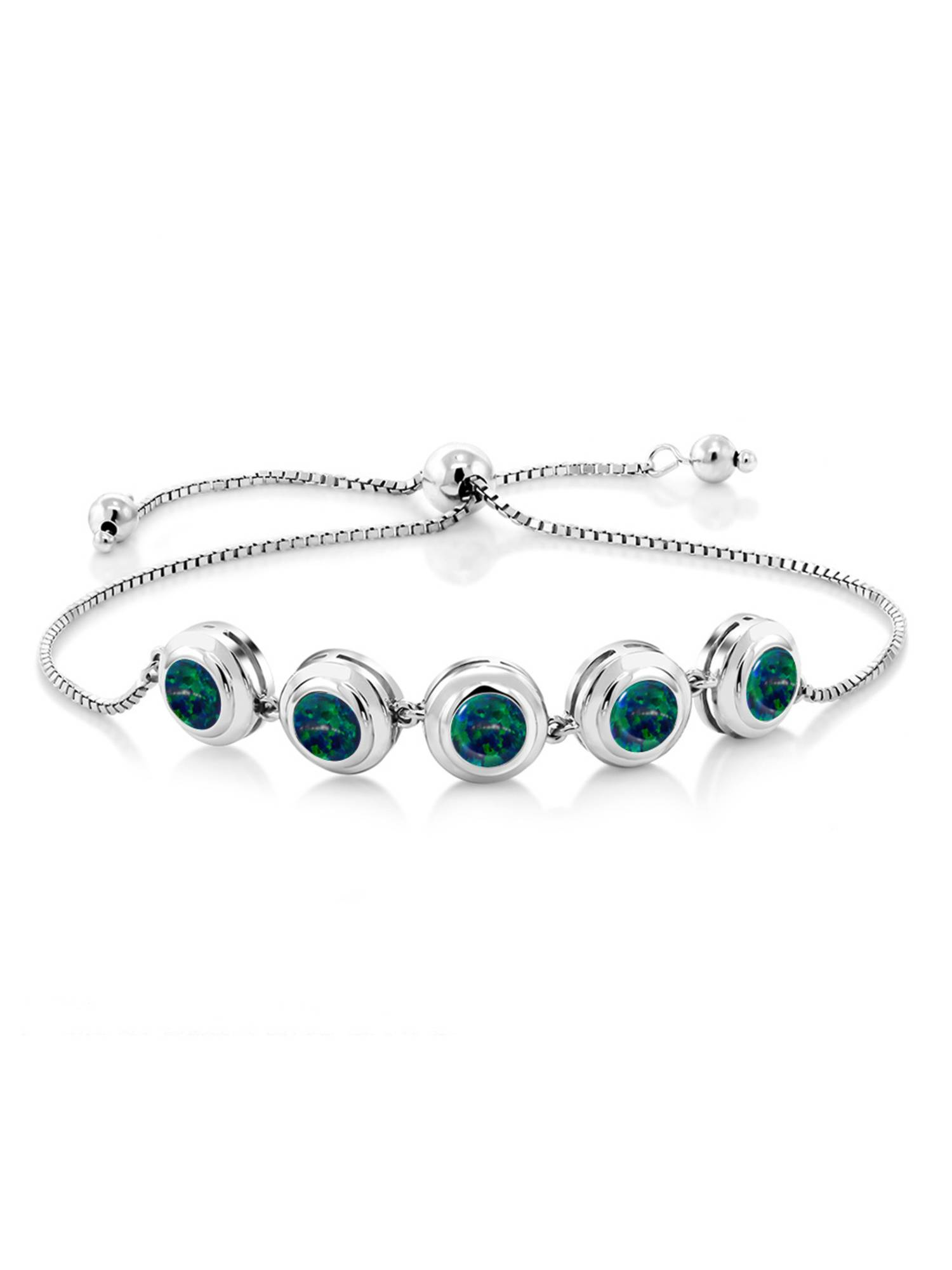3.75 Ct Round Cabochon Green Simulated Opal 925 Sterling Silver Bracelet by