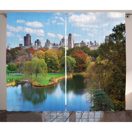 New York Curtains 2 Panels Set, Central Park in Autumn with Lake Trees and Manhattan USA American Nature Image, Window Drapes for Living Room Bedroom, 108W X 108L Inches, Multicolor, -