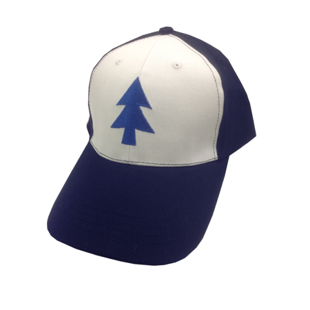 Dipper Pines Tree Hat Gravity Falls Baseball Cap Costume White Blue Pine Cosplay