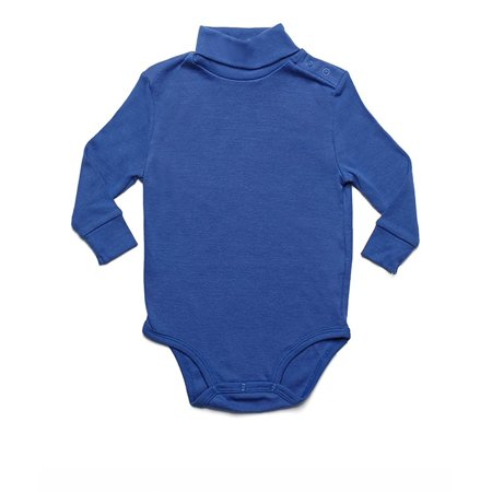 Leveret Solid Turtleneck Bodysuit 100% Cotton (2 Years, Royal Blue) - White Wolf Onesie