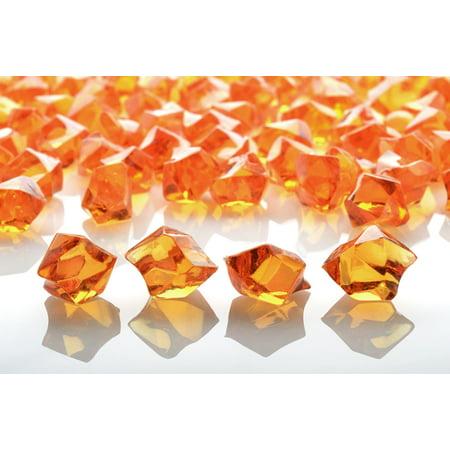 Quasimoon Orange Colored Gemstones Acrylic Crystal Wedding Table Confetti Vase Filler (3/4 lb Bag) by -