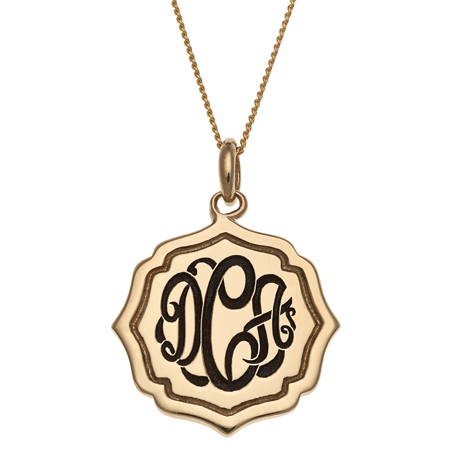 Personalized Women's Sterling Silver or Gold over Silver Monogram Medallion Necklace, 18""