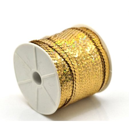 Sequins Trim Spool String Flat Bling Gold Tone Ab 6mm Dia (2/8