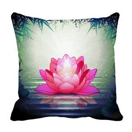 PHFZK Lotus Flower in Tranquil Zen Garden Pillowcase Throw Pillow Cushion Cover Two Sides Size 18x18 - Tranquil Lotus Blossom