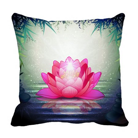 PHFZK Lotus Flower in Tranquil Zen Garden Pillowcase Throw Pillow Cushion Cover Two Sides Size 18x18 inches Tranquil Lotus Blossom