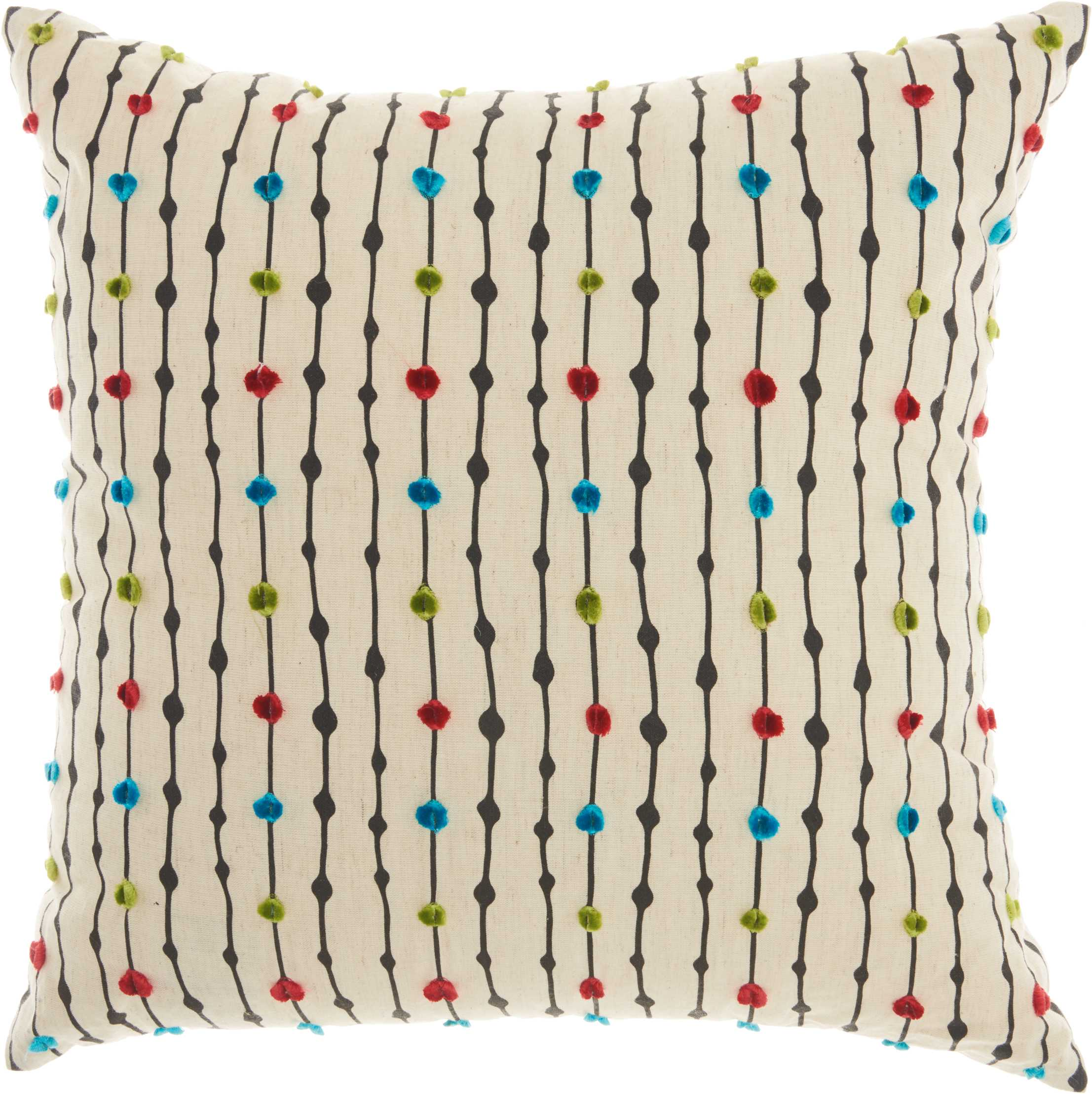 "Nourison Trendy, Hip, & New Age Embroidered Dots Decorative Throw Pillow, 18"" x 18"", Natural"
