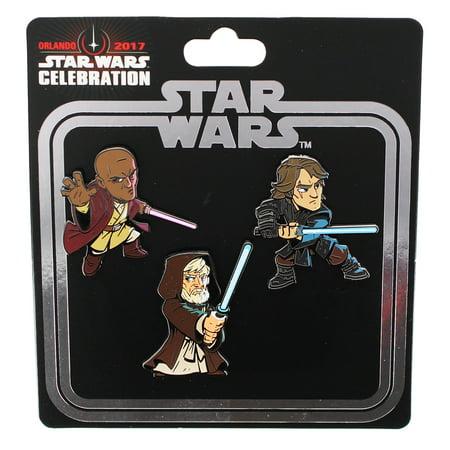 Star Wars Celebration 2017 Enamel Pin Set: Mace Windu, Obi Wan, and Anakin for $<!---->