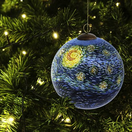La Pastiche Starry Night Hand Painted Glass Ball Ornament ()