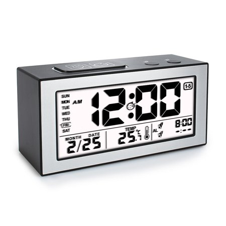 Indiglo Night Light Date Display (Tsumbay Digital Alarm Clock Thermometer Calendar with Auto Dimmer Night Back light Snooze Function large display clock , 3 Workday Alarm Modes,Time Week Date Temperature Display Monitor )