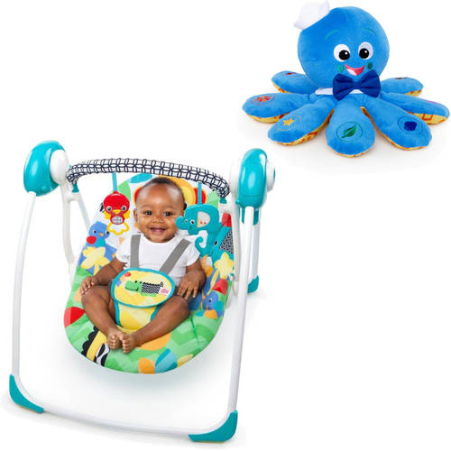 Bright Starts Safari Smiles Portable Swing with BONUS Octoplush Toy