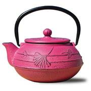 "22 Oz. Fuchsia Cast Iron ""Ginkgo"" Teapot"