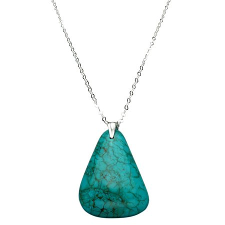 Turquoise Open Link (Simulated Turquoise Stone Pendant Flat Link Chain Necklace Sterling Silver Bail 30 Inch )