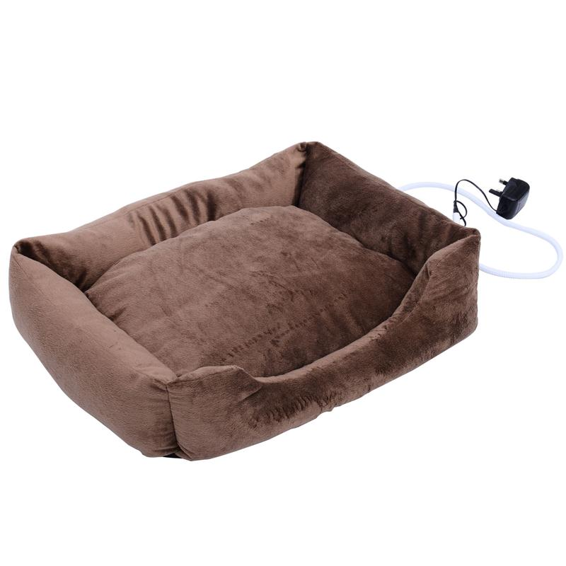 Pawhut 24 Indoor Electric Heated Dog Pet Bed - Coffee Brown