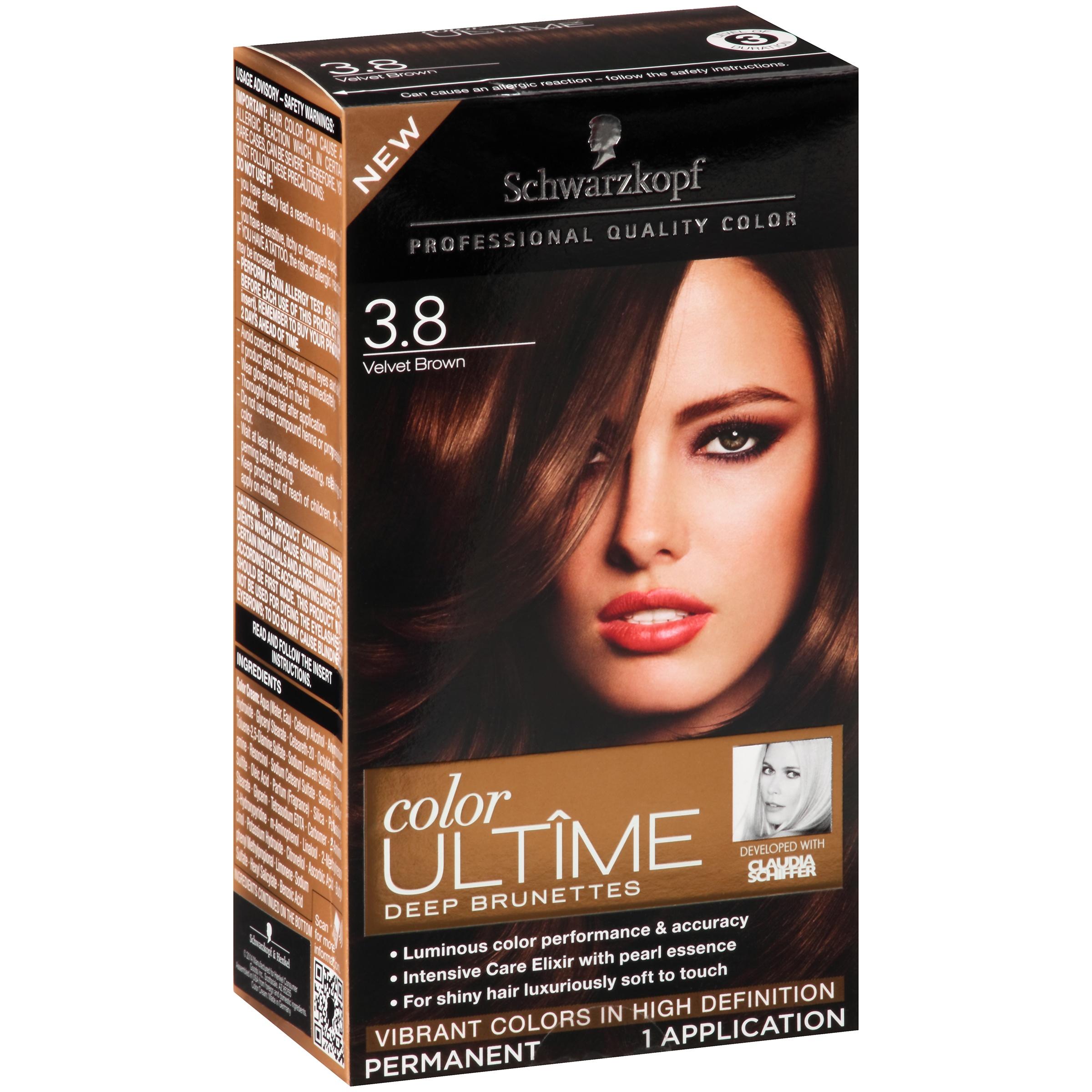 Schwarzkopf Color Ultime Deep Brunettes Hair Coloring Kit 38 Velvet Brown