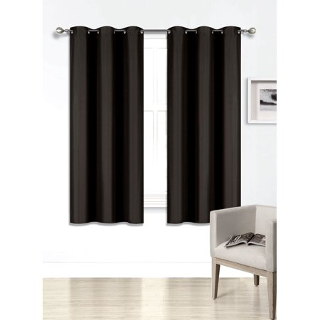 "(SSS) 2-PC Black Solid Blackout Room Darkening Panel Curtain Set, Two (2) Window Treatments of 37"" Wide x 63"" Length Each Panel"