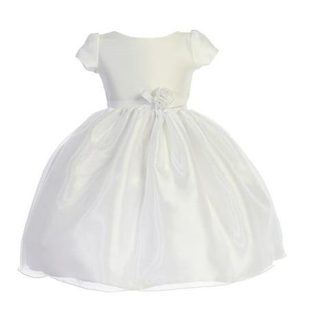 Girls White Dupioni Organza Floral Bow Flower Girl Dress - Cinco De Mayo Dresses Sale