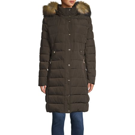 Marc New York Quilted Jacket - Faux Fur Trim Quilted Walker Coat