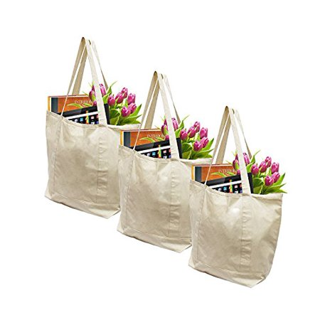 e88a90cd114 Earthwise Reusable Grocery Bags X-Large 100% Cotton Canvas Shopping Beach  Cloth Tote (3 Pack) - Walmart.com