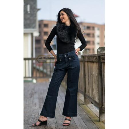 Dark Denim Pants (LONG WIDE-LEG DENIM PANTS | WOMEN TROUSERS DARK BLUE JEANS (H01-WP))