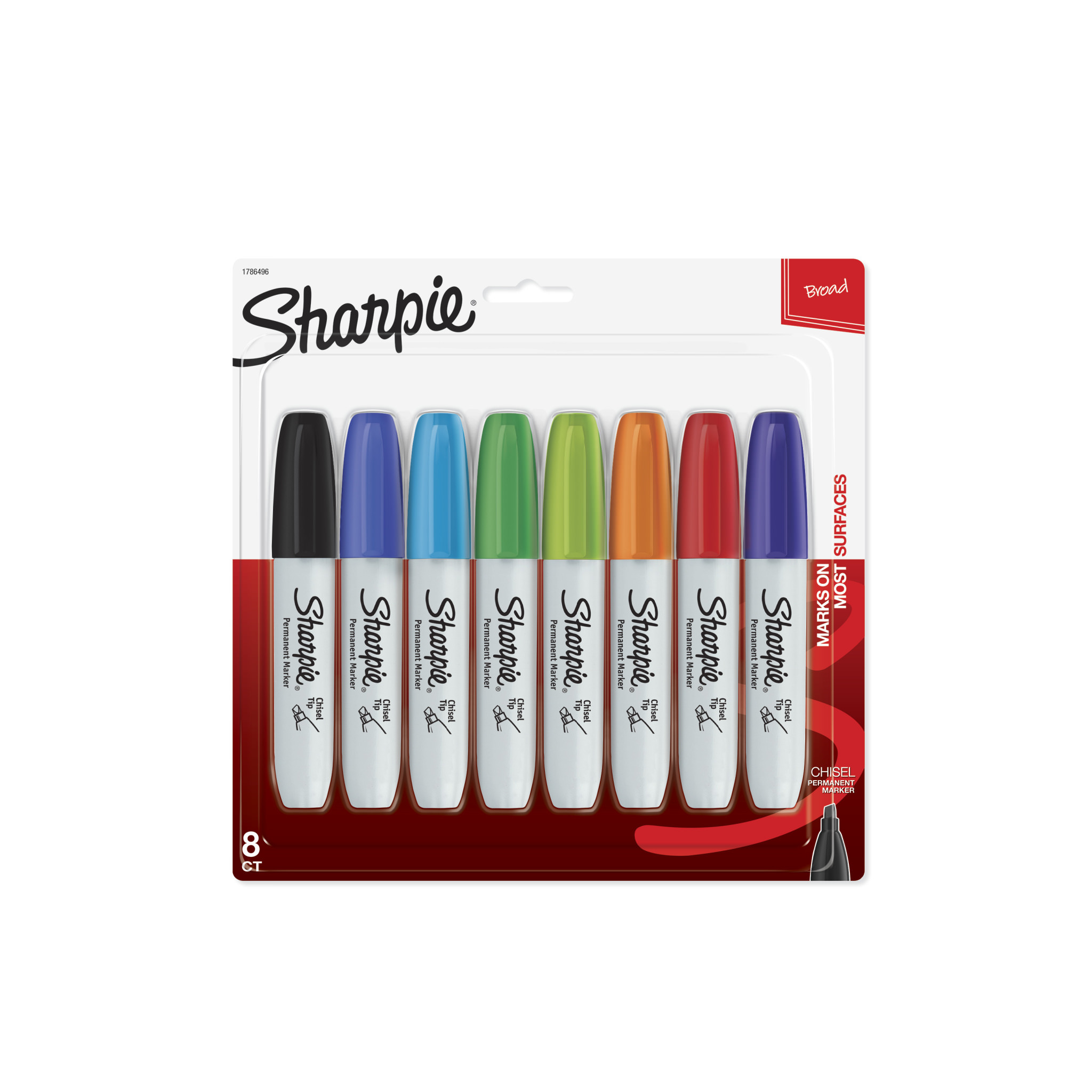 Sharpie Permanent Markers, Chisel Tip, Classic Colors, 8 Count