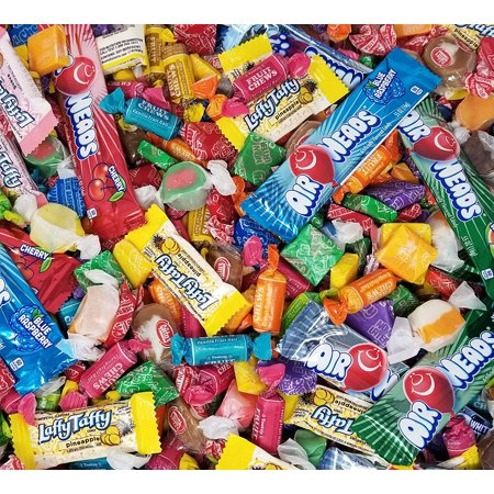 Assorted Taffy Candy Variety Party Mix, 4 Pounds Bulk Pack - Tootsie Roll Fruit Chews, Pineapple and Guava Flavored Laffy Taffy, Salt Water Taffies, Now Later Mini Squares, Goetze's, Airheads