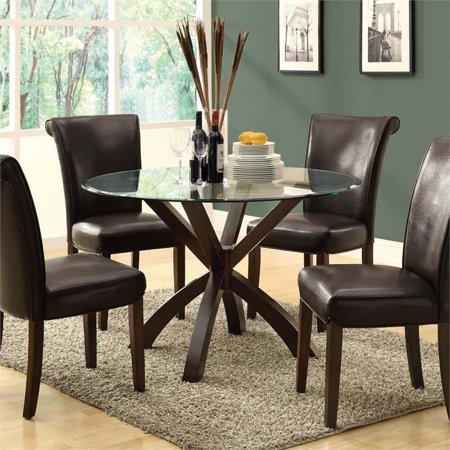 Monarch 48 Quot Round Glass Top Dining Table In Espresso