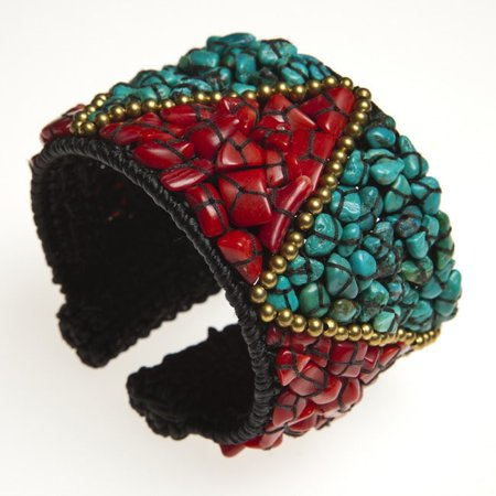 Aeravida Brass Turquoise And Coral Triangle Cuff Bracelet