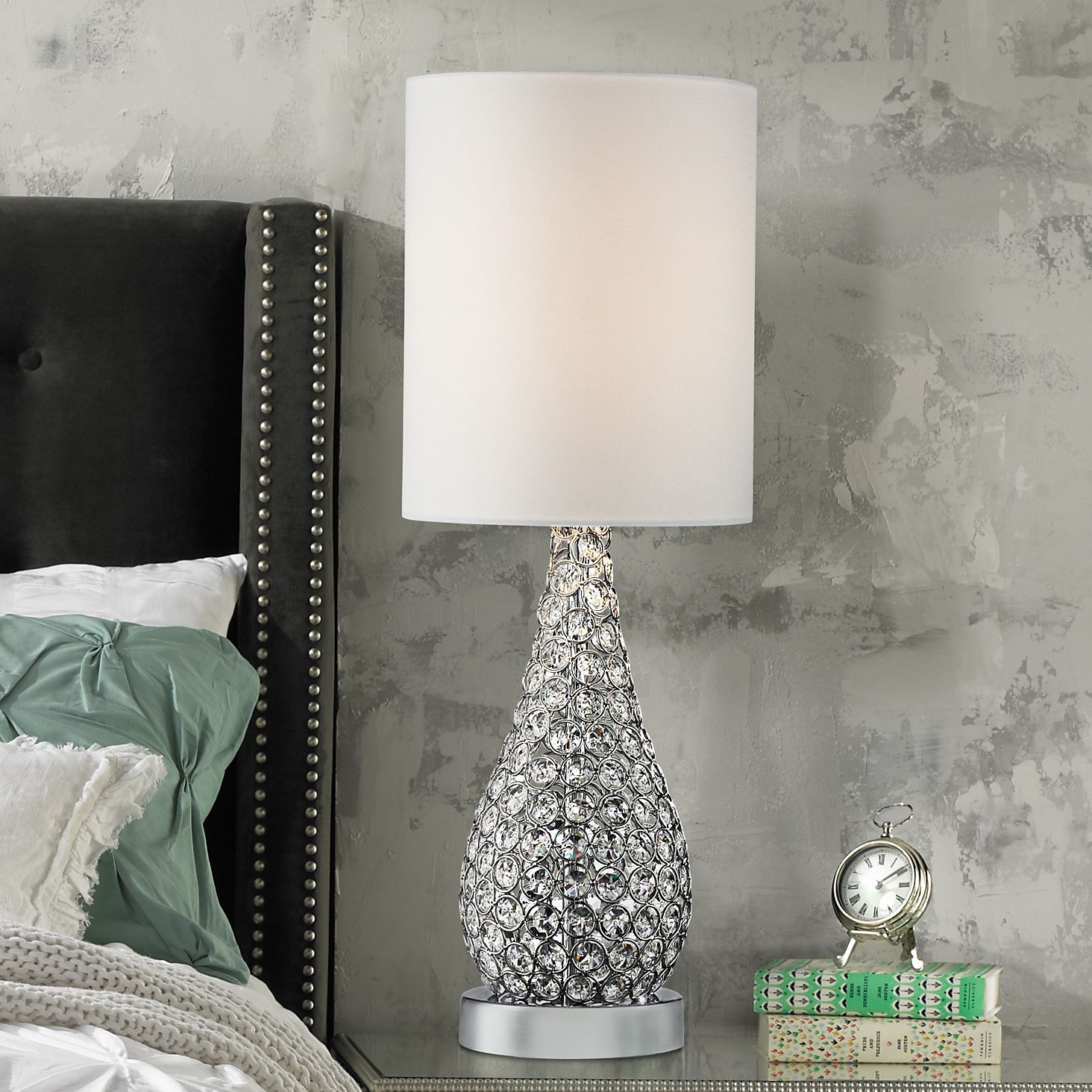 360 Lighting Modern Accent Table Lamp Crystal Bead Silver Gourd