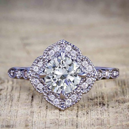 d077c92e795da Antique Vintage 1.25 Carat Artdeco Halo Engagement Ring with Moissanite and  Diamond for Her in 14k Black Gold