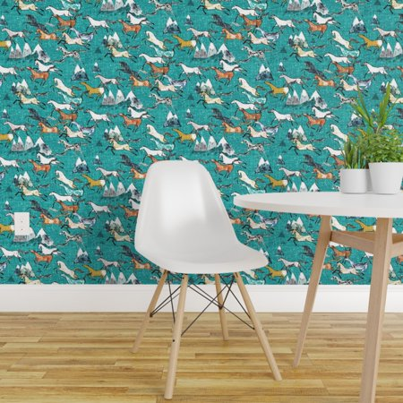 Peel and Stick Removable Wallpaper Wild Horse Mountain Blue Western Southwest