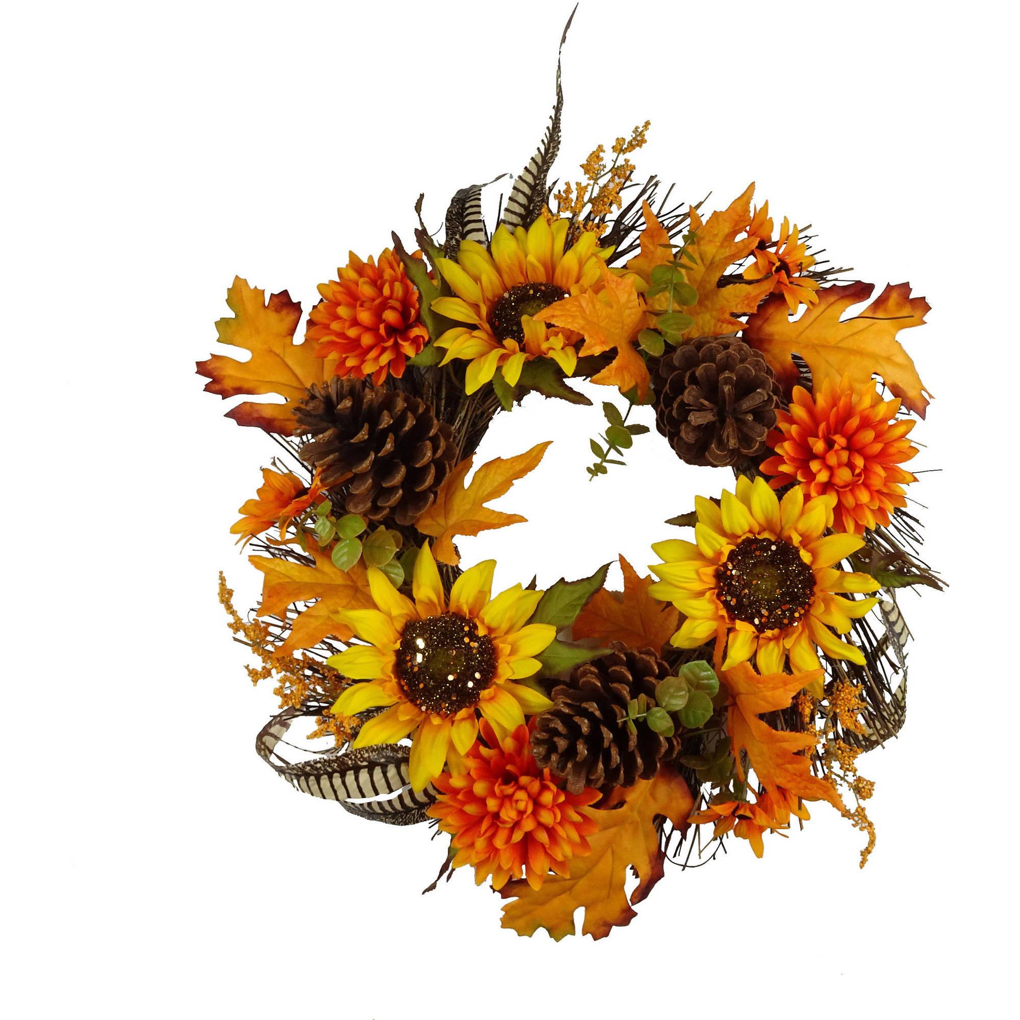 Walmart Halloween Yellow Sunflower Mixed Wreath Harvest Fall Decor Fall Harvest Halloween Decoration