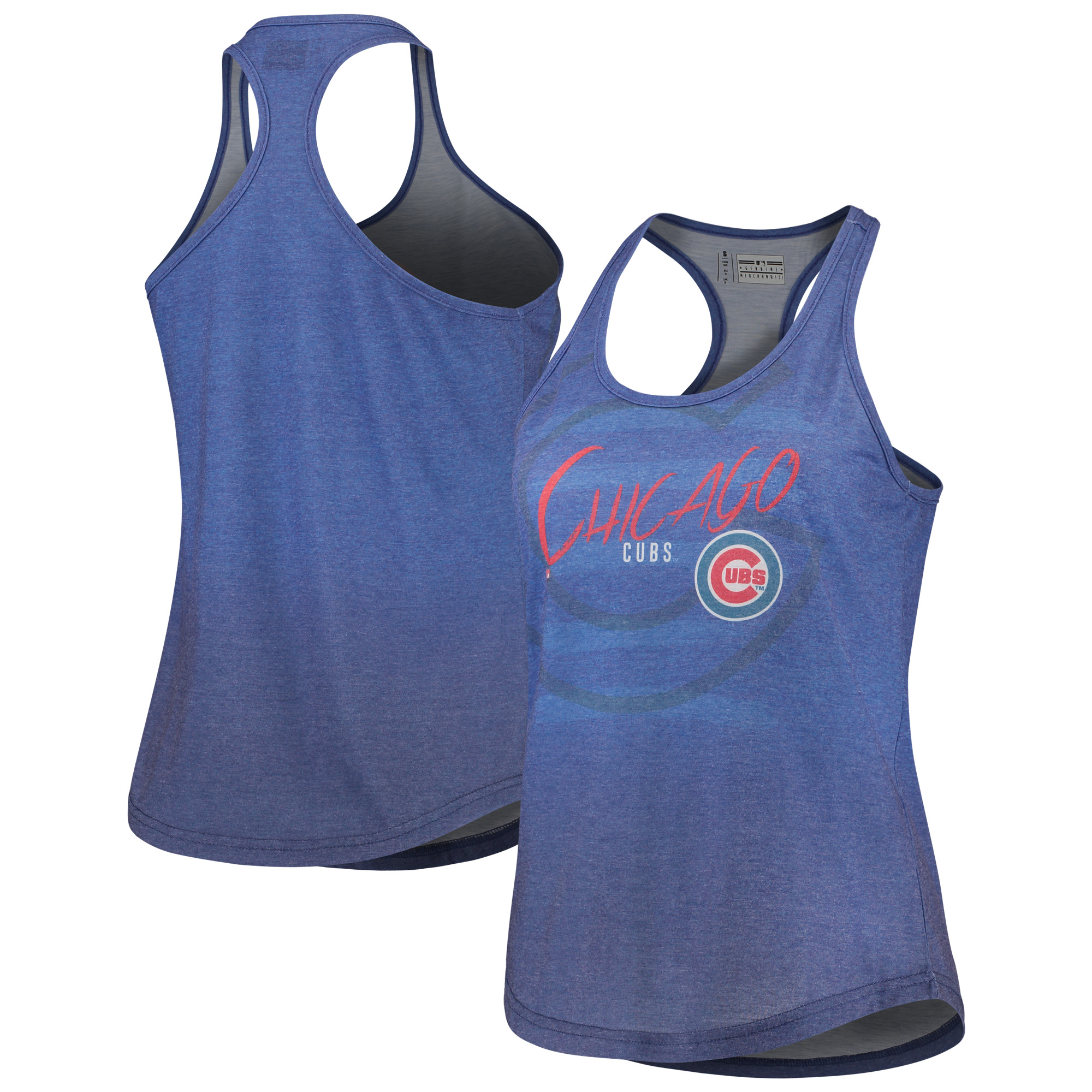 Chicago Cubs Women's Striped Tank Top - Heathered Royal