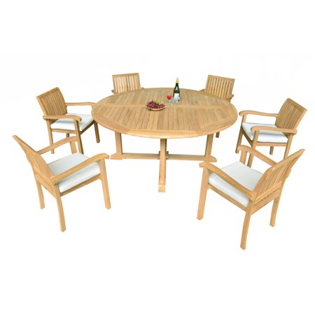 pc a grade outdoor patio teak dining set 72 round table 6
