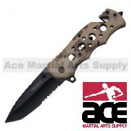 """8"""" Wartech Spring Assisted Rescue Drop Point-Tanto Blade Pocket Knife (Camo)"""