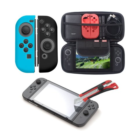 Insten 4in1 Starter Bundle Kit for Nintendo Switch - Carrying Travel Hard Shell Case Built-in Game Cartridge Slot + Tempered Glass Screen Protector + Silicone Joy Con Skin [Left BLUE/Right BLACK]