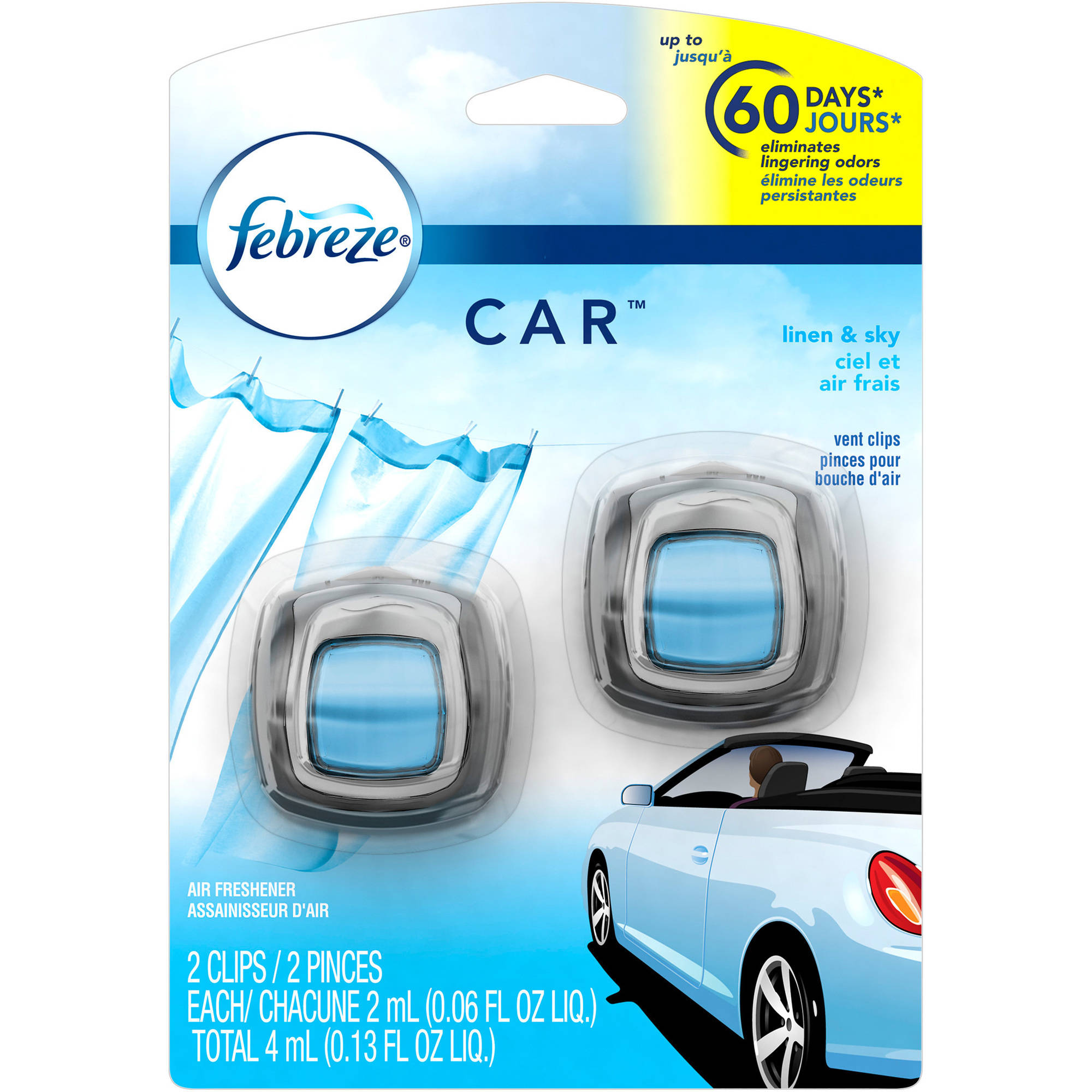 Febreze Car Vent Clips Linen & Sky Air Freshener (2 Count; 2 mL each)