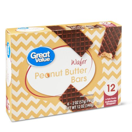 Great Value Peanut Butter Wafer Bars, 12 oz, 6 Count