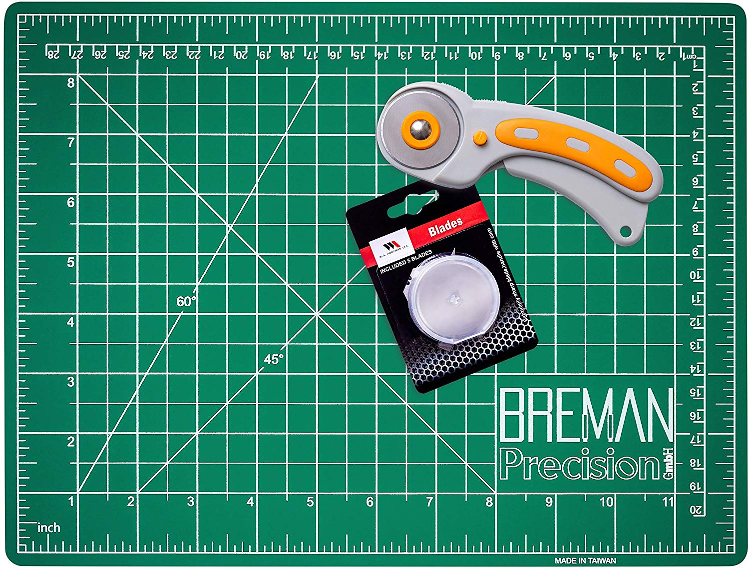 45mm Rotary Cutter With 5 Blades Cutting Mat DIY Fabric Sewing Quilting Tool Set