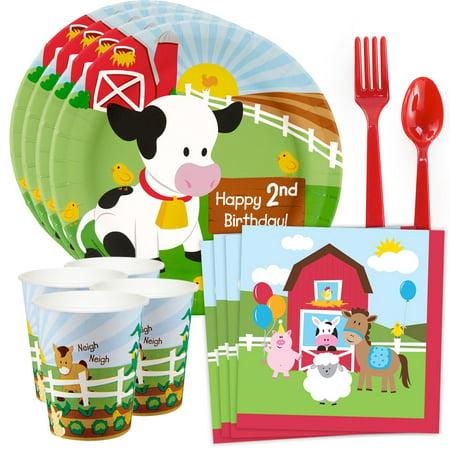 Barnyard 2nd Birthday Standard Tableware Kit (Serves 8) - Barnyard 2nd Birthday Party Supplies