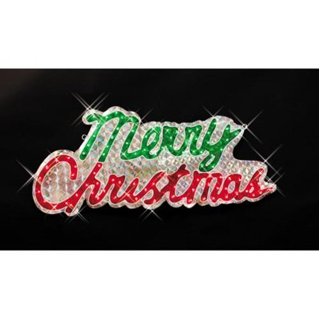 sparkling holographic merry christmas yard decoration