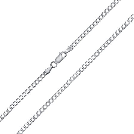 080Gauge 925 Sterling Silver Miami Cuban Curb Chain Necklace For Men For Women Made In Italy 16 18 20 24 (Oval Medal 24 Inch Chain)