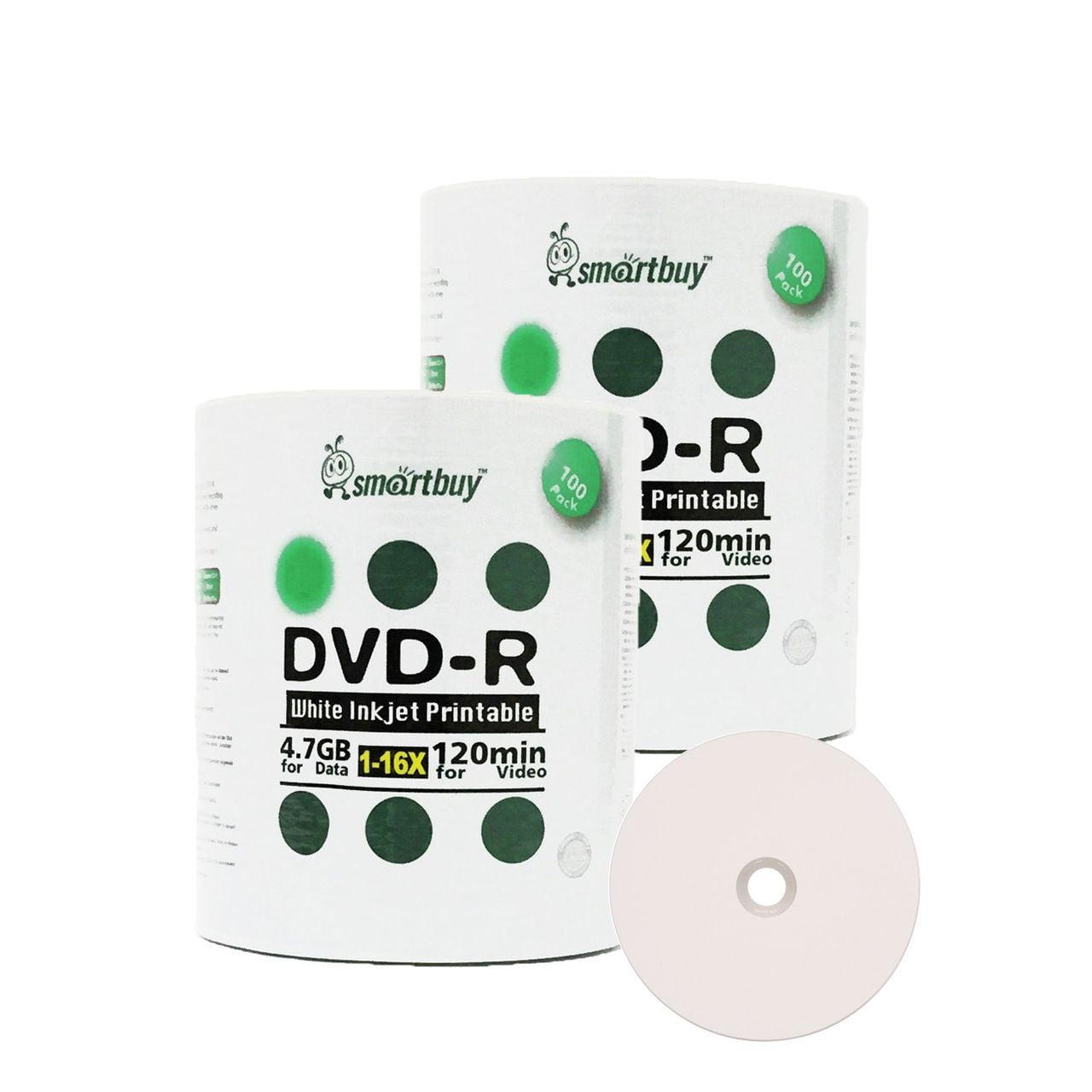 200 Pack Smartbuy 16X DVD R 47GB 120Min White Inkjet Hub Printable Data Blank Media Recordable Disc