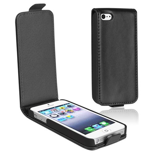 INSTEN Snap-on Leather Case For Apple iPhone 5, Black Version 2
