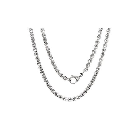 - 16 Inch Stainless Steel Rolo Box Chain Necklace with Lobster Clasp